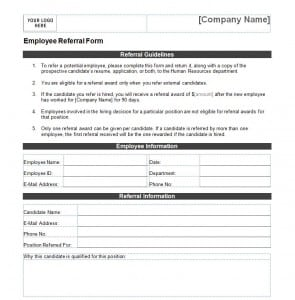 employee referral form template formats examples in word excel. Black Bedroom Furniture Sets. Home Design Ideas