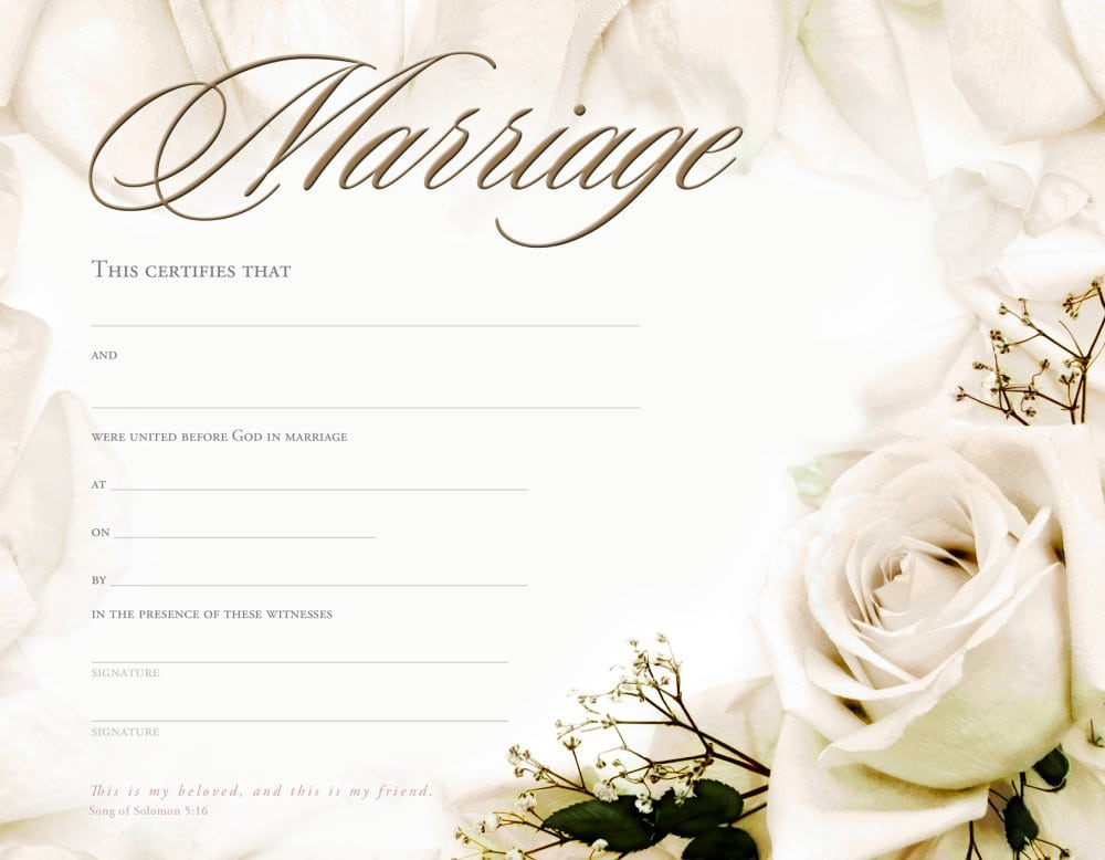 This is a photo of Astounding Free Marriage Certificate Template Word