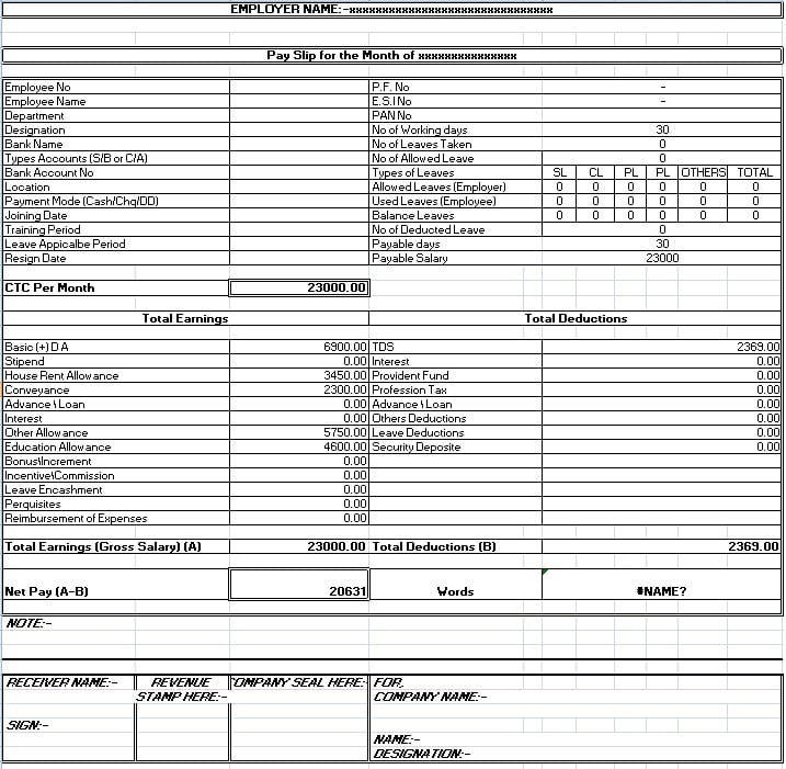 Salary Sheet Slip Format formats Examples in Word Excel – Free Salary Slip Template