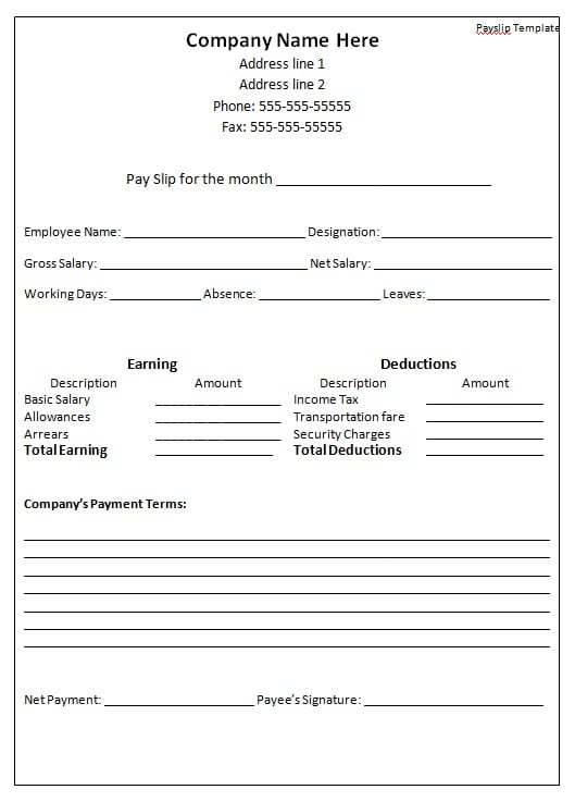 Payslip Format Word and Excel formats Examples in Word Excel – Payslip Template Word Document