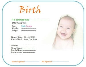 Birth Certificate Template - formats, Examples in Word Excel