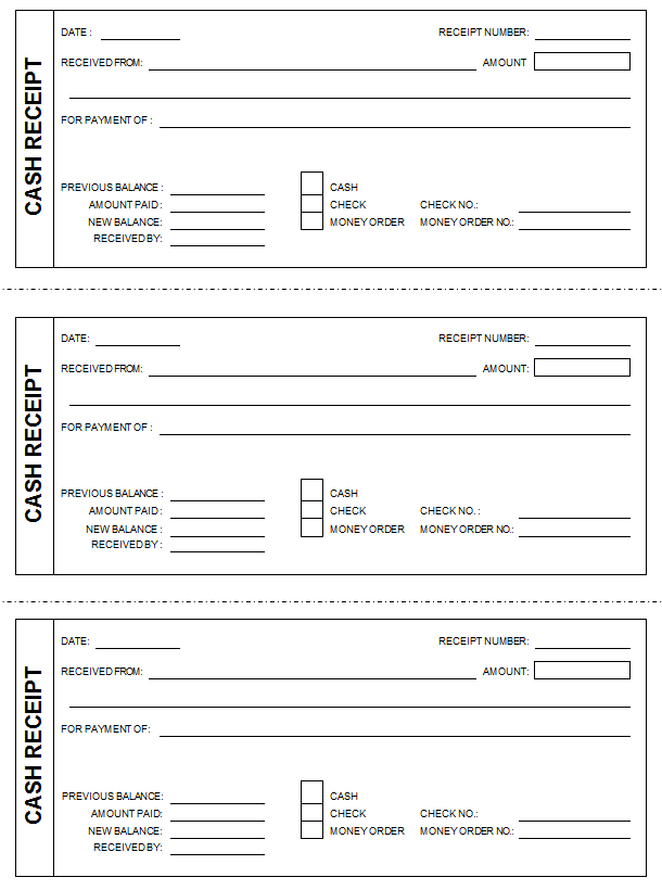 Cash Receipt Template formats Examples in Word Excel – Receipt for Cash Payment