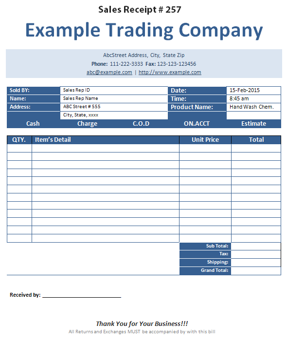 Sales Receipt Template formats Examples in Word Excel – Ms Word Receipt Template