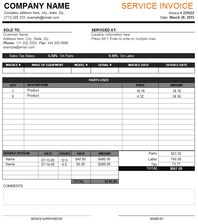 Service Invoice Template Perfect Business Invoice formats – Service Bill Template