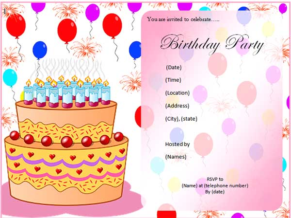 Birthday Invitation Free Download Microsoft Office Birthday