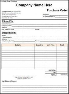 Free Sample Templates  Purchase Order Sample Format