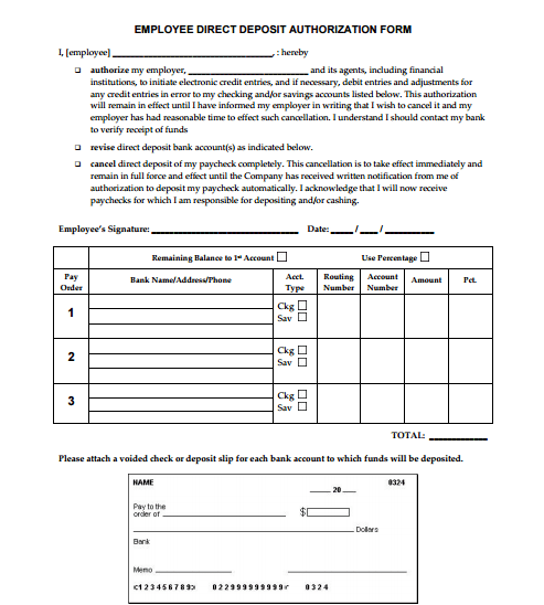 5 Generic Direct Deposit Form Templates formats Examples in – Account Form Template