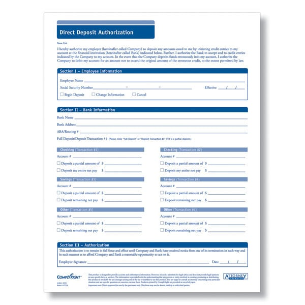 Generic Direct Deposit Form  BesikEightyCo