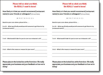 5 restaurant comment card templates formats examples in for Comments html template