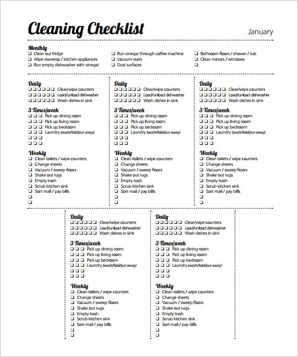 6 cleaning list templates formats examples in word excel for Free office cleaning checklist templates