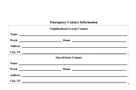 Contact Info Templates - formats, Examples in Word Excel