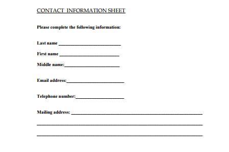 Contact Information Sheet  Information Form Template Word