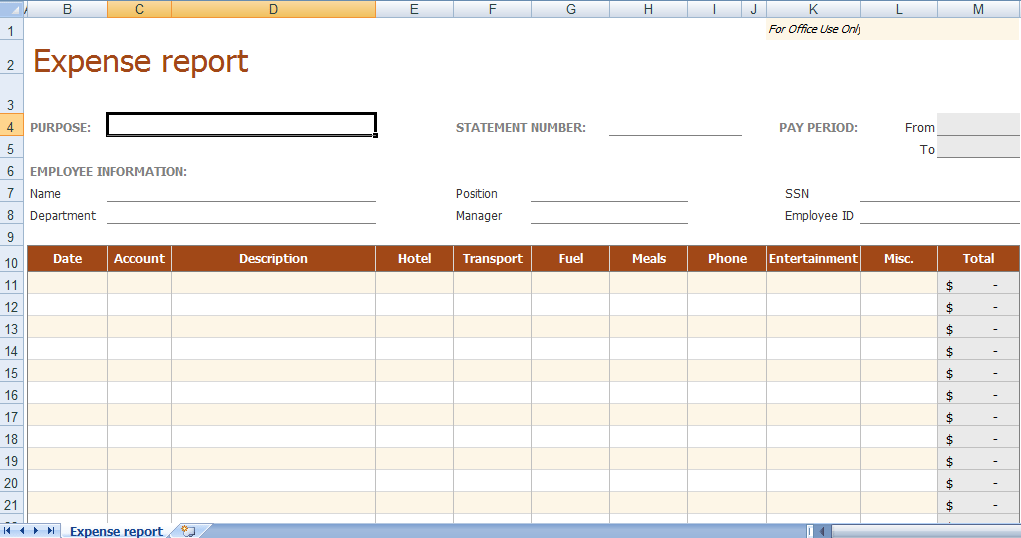6 Expense Report Form Templates formats Examples in Word Excel – Expense Report Form