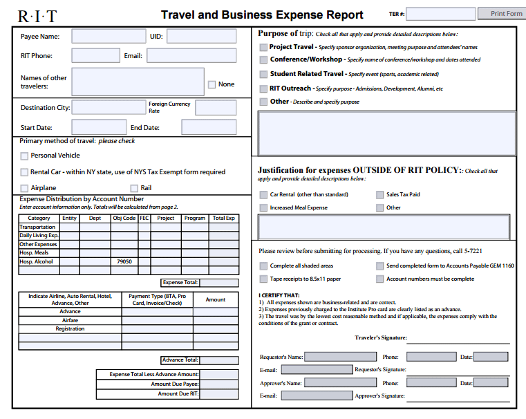 6 expense report form templates formats examples in