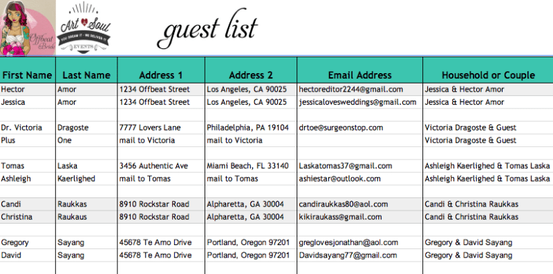 Free Sample Templates  Guest List Template For Wedding