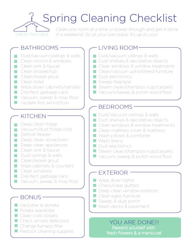 5 House Cleaning List Templates formats Examples in Word Excel – Sample Spring Cleaning Checklist