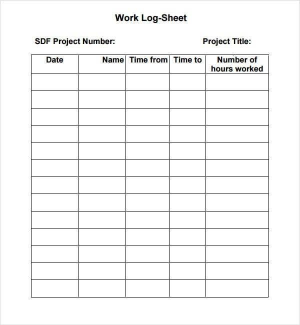 Time Log Sheet Template  NinjaTurtletechrepairsCo