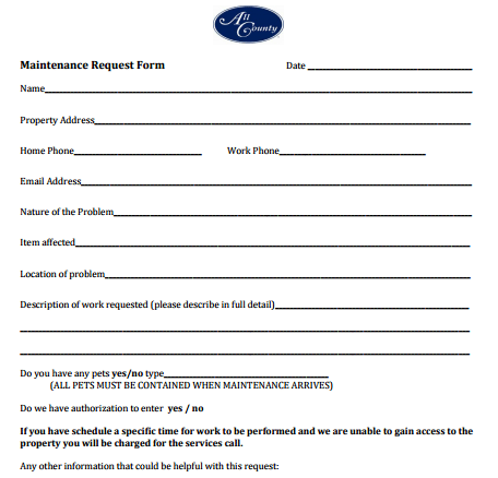 maintenance request form template 37491