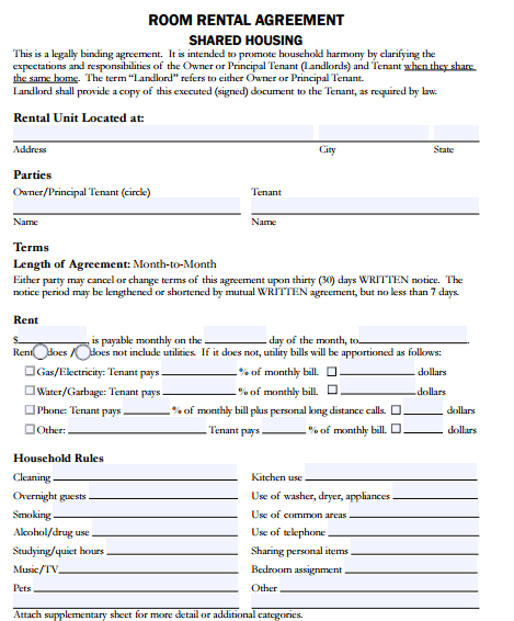 5 Room Rental Agreement Form Templates formats Examples in Word – Rent a Room Contract