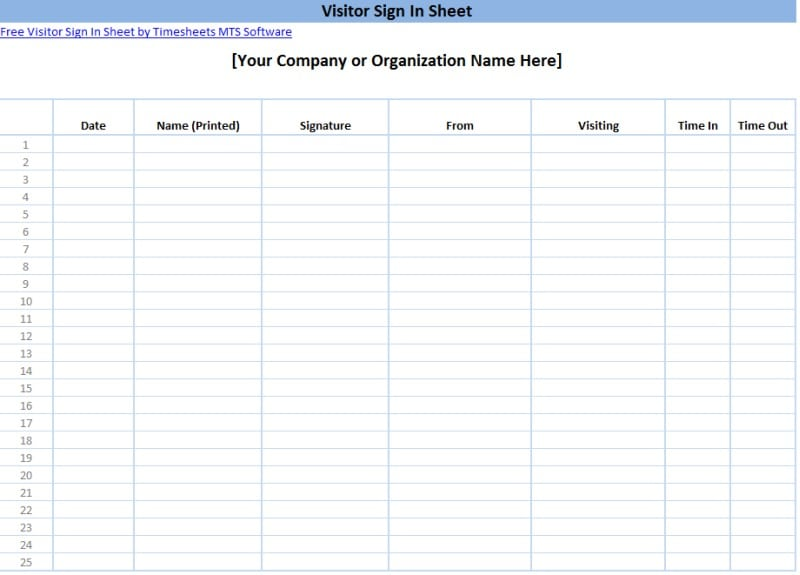 4 Sign In Sheet Templates Formats Examples In Word Excel