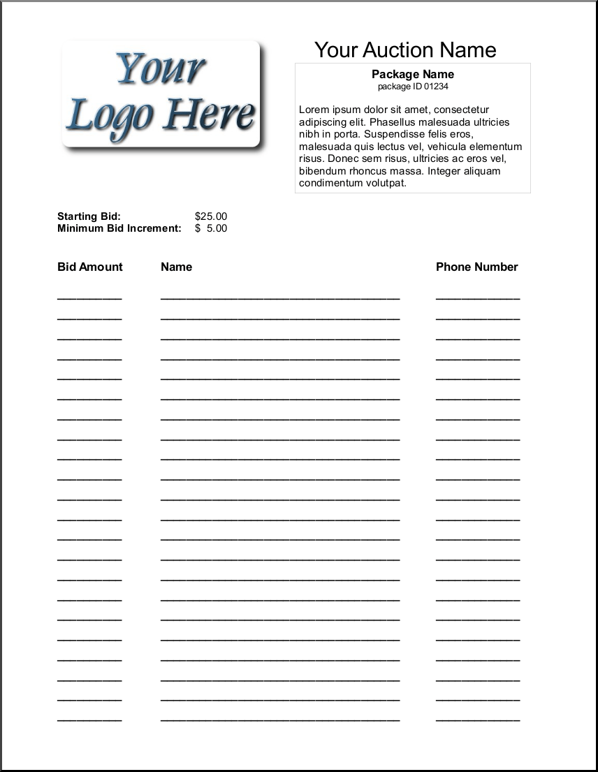 auction sheets template