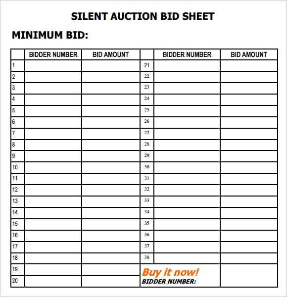 6 Silent Auction Bid Sheet Templates formats Examples in Word Excel – Bid Sheet Template Free