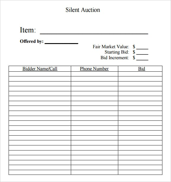 6 silent auction bid sheet templates formats examples for Auction bid cards template