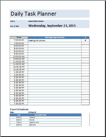 5 task list templates formats examples in word excel for Template for daily tasks