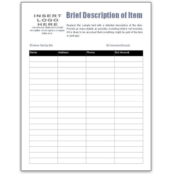 5 Auction Bid Sheets Templates - formats, Examples in Word Excel