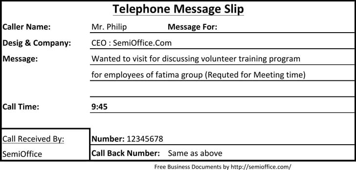 Phone Message Templates  Formats Examples In Word Excel