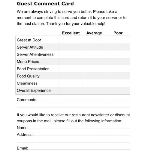 9 restaurant comment card templates