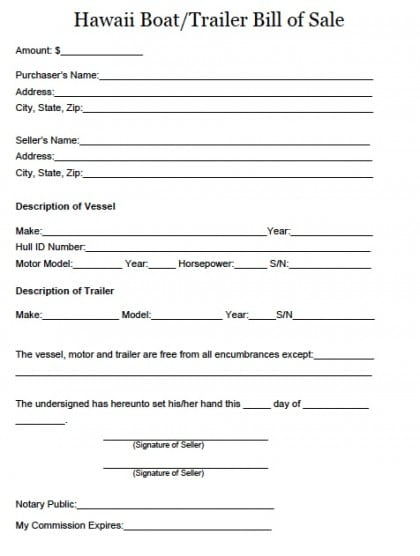 boat bill of sale form template 1641