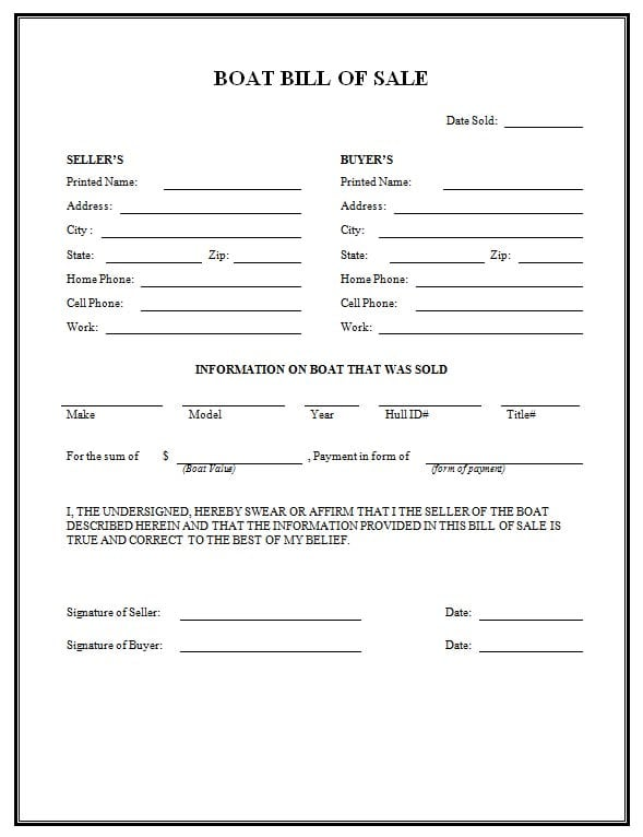 boat bill of sale form template 2451