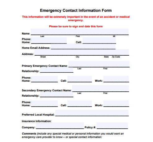 image relating to Contact Information Form Template identify 5 Call Information and facts Templates - Free of charge Pattern Templates