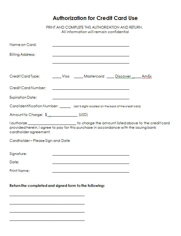 credit card authorization form template word 5 credit card authorization form templates formats 21241 | credit card authorization form template 154