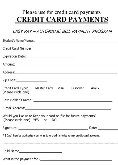 Credit Card Authorization Form Authorization To Use Credit Card