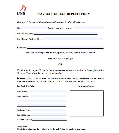 direct deposit form template 49741