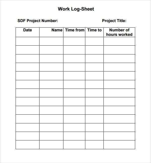 log sheet template 16541