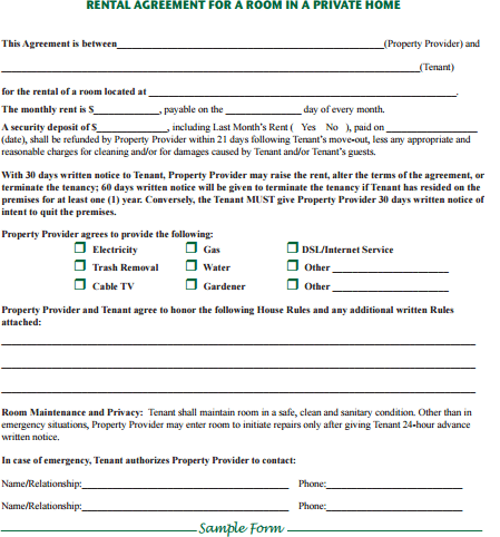room rental agreement form template 1641