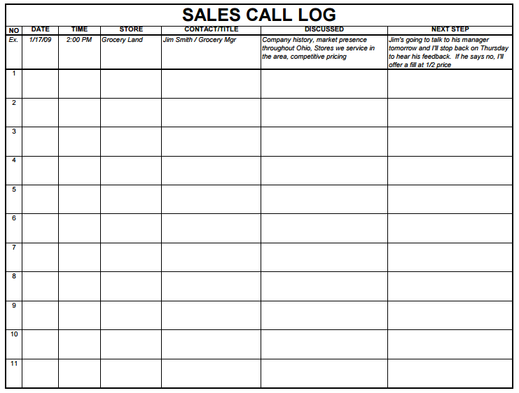 5 Sales Log Templates Formats Examples In Word Excel