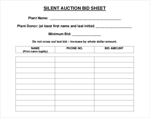 5 auction bid sheets templates