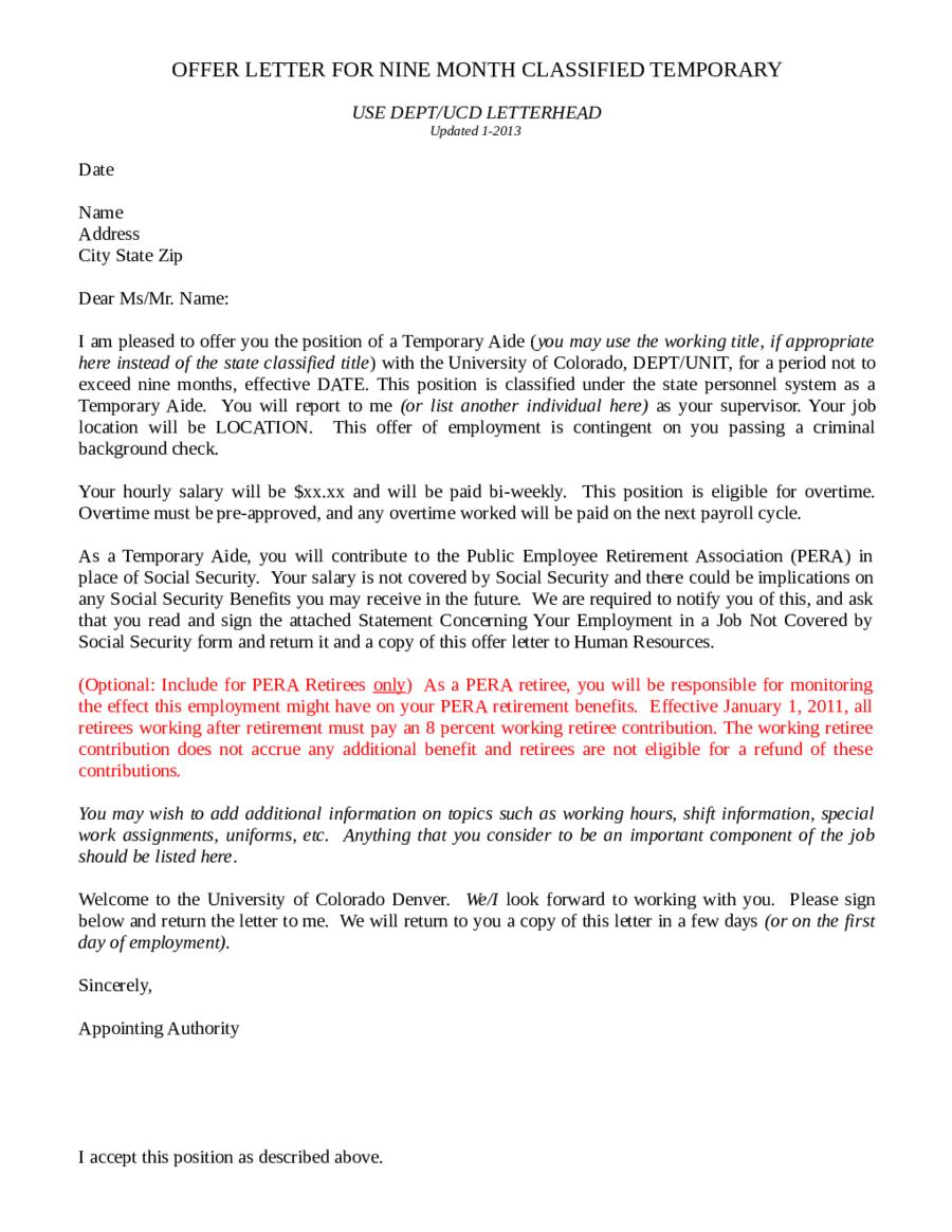 business offer letter samples