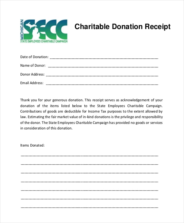 5 Charitable Donation Receipt Templates - formats, Examples in Word Excel