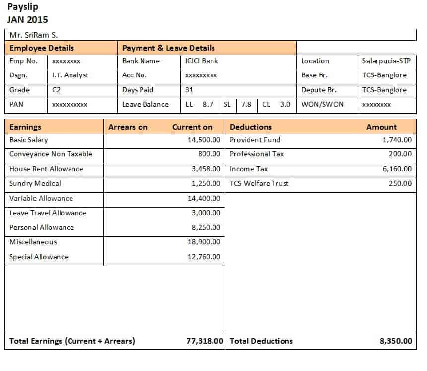 10+ Payslip Formats Word and Excel - Free Sample Templates