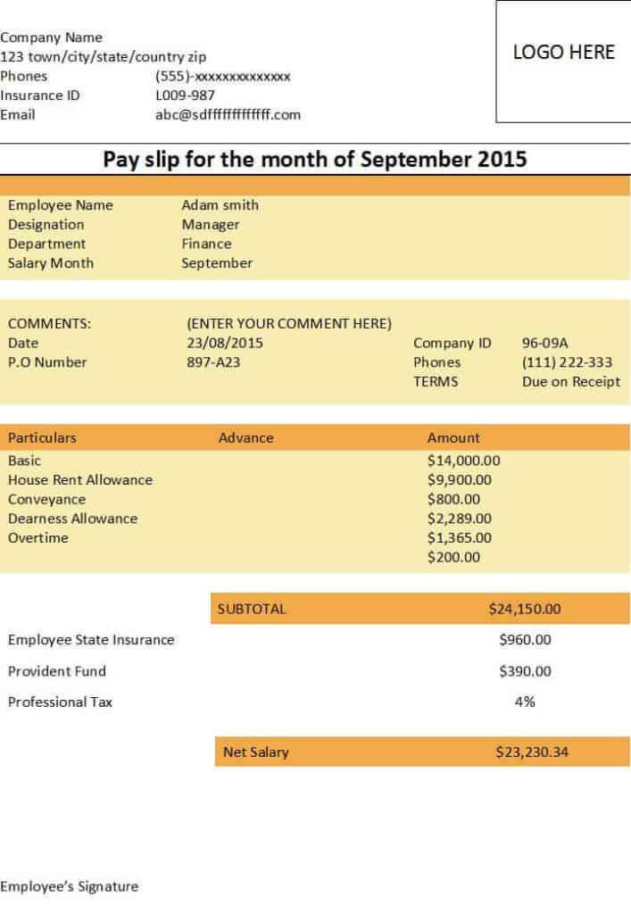 10  payslip formats word and excel
