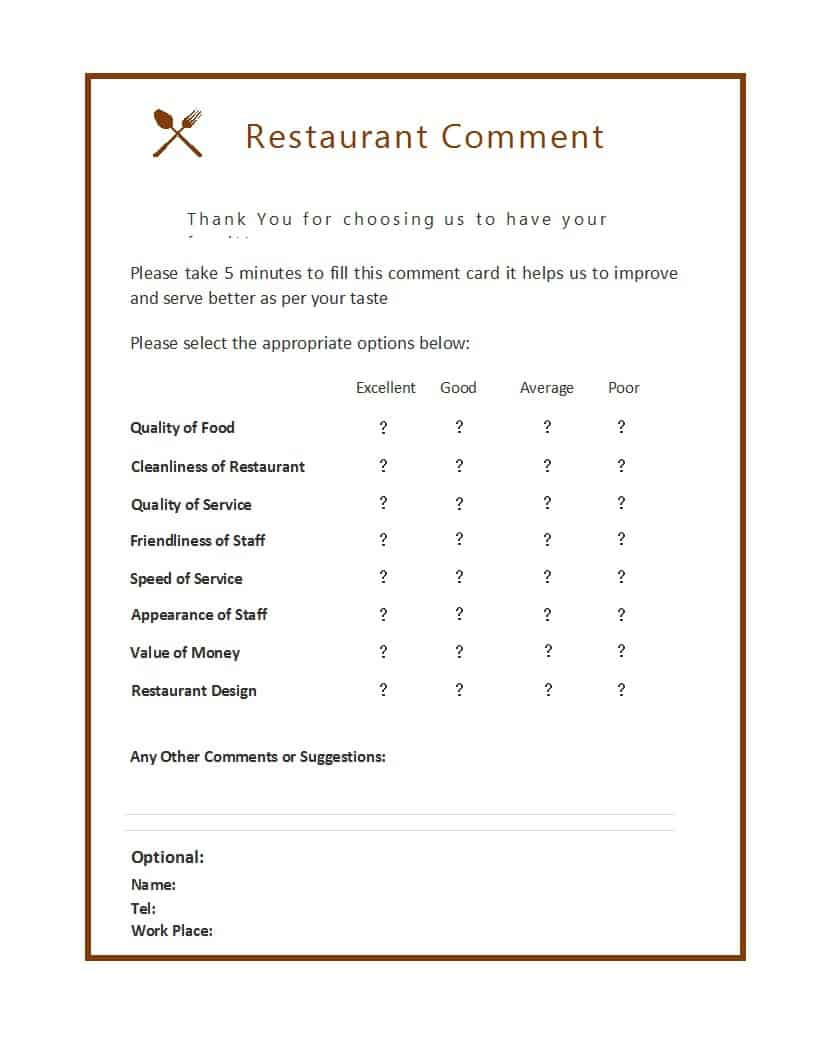 Restaurant Comments Card Template from www.freesampletemplates.com
